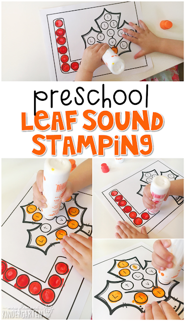 This leaf sound stamping activity is perfect for letter, sound, and fine motor practice with a fall theme. Great for tot school, preschool, or even kindergarten!