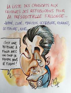 Candidat aux primaires des Républicains... Ou pas... Croquis sur un coin de table... ©Guillaume Néel