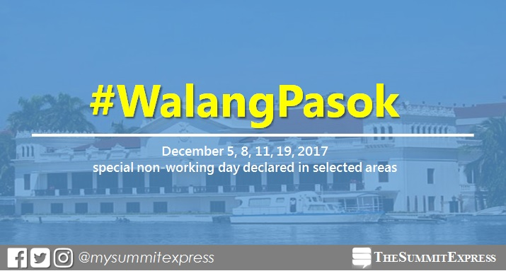 #WalangPasok: December 5, 8, 11, 19, 2017 special holiday declared in selected areas