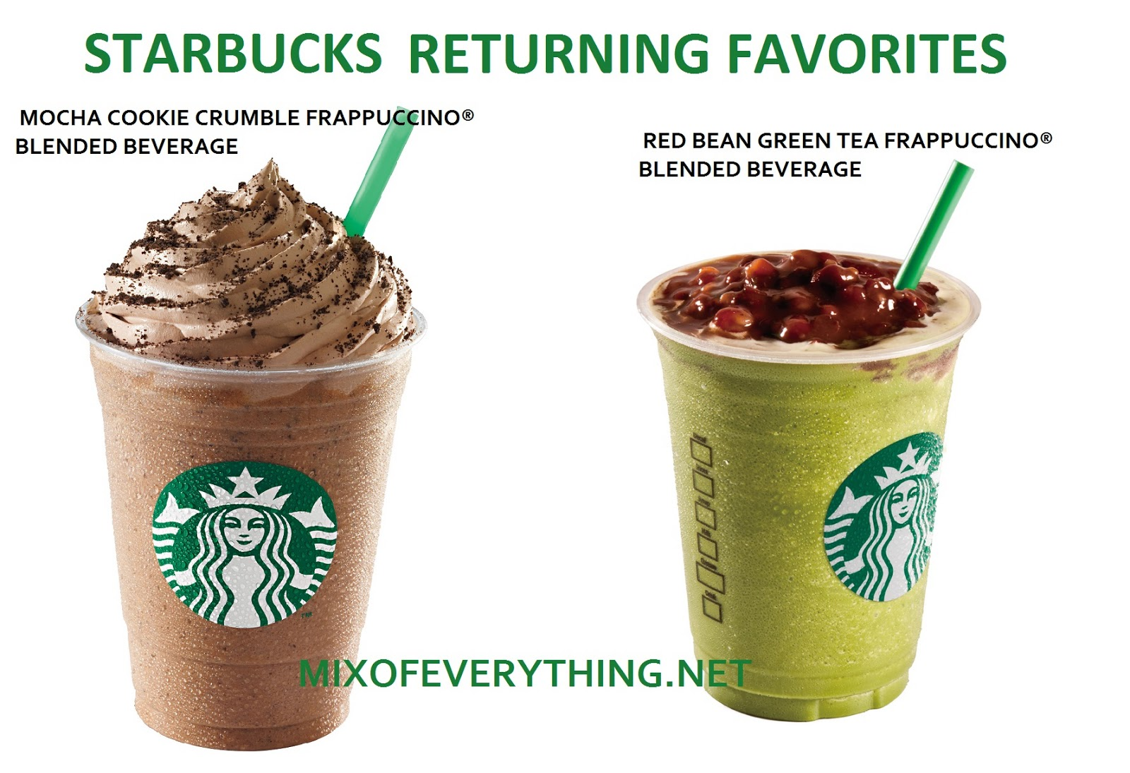 Starbucks Brings Back Mocha Cookie Crumble And Red Bean