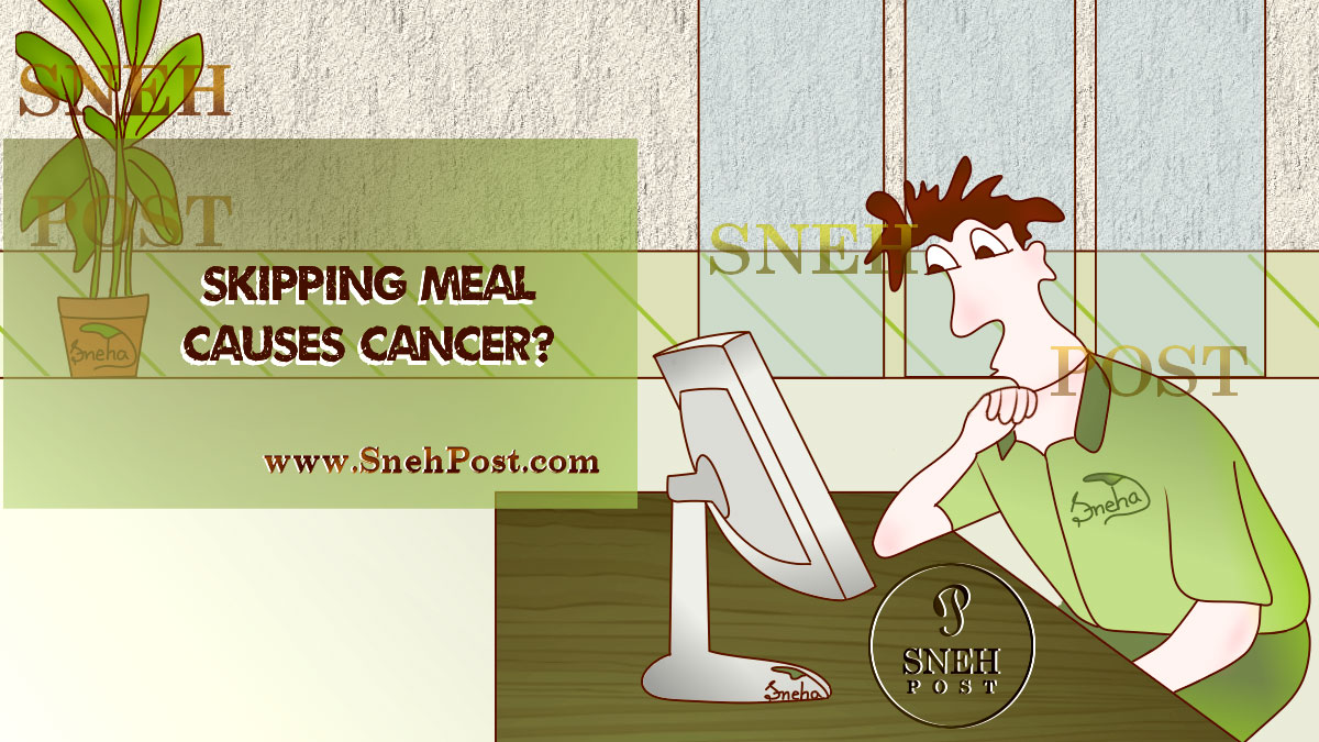 Skipping meals increases risks of cancer: A boy reading skipping meals and cancer related researches on his desktop computer on table