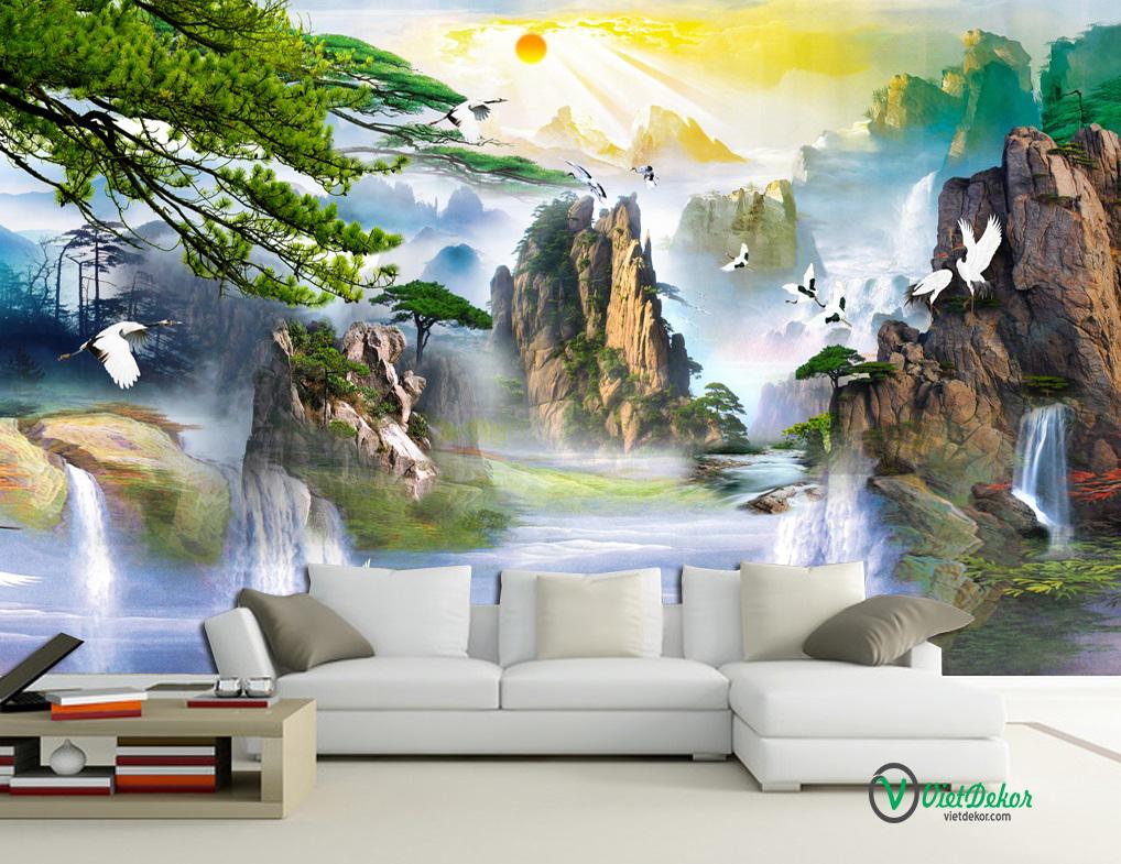 Tranh dán tường 3d phong thủy thác nước núi và chim hạc