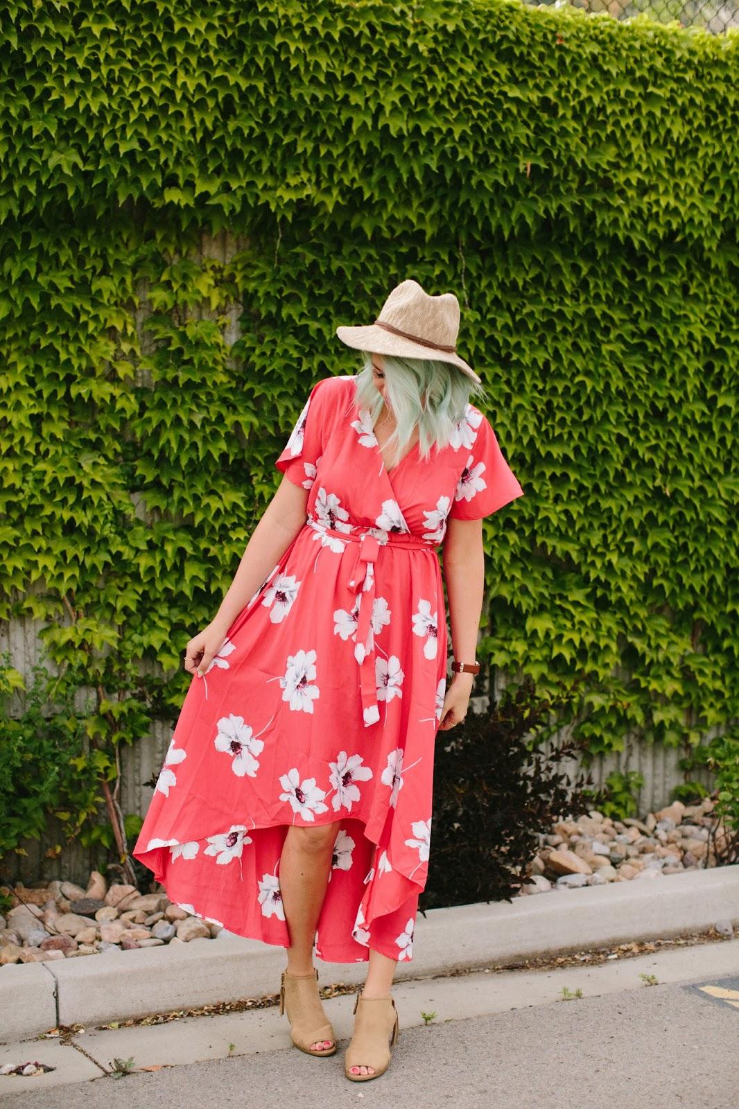 Hi lo dress, floral dress, modest dress