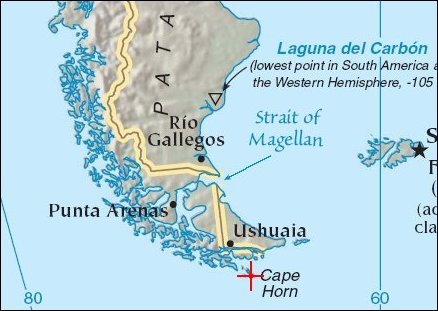 Tip Of South America Map.Water World Dangerous Waters