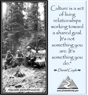 """Culture is a set of living relationships working toward a shared goal. It's not something you are. It's something you do.""  - Daniel Coyle  (Wildland firefighters in communication with one another.)"