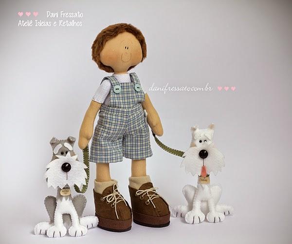 Boneco de Tecido com cachorros schnauzer de feltro Ideias e Retalhos por Dani Fressato