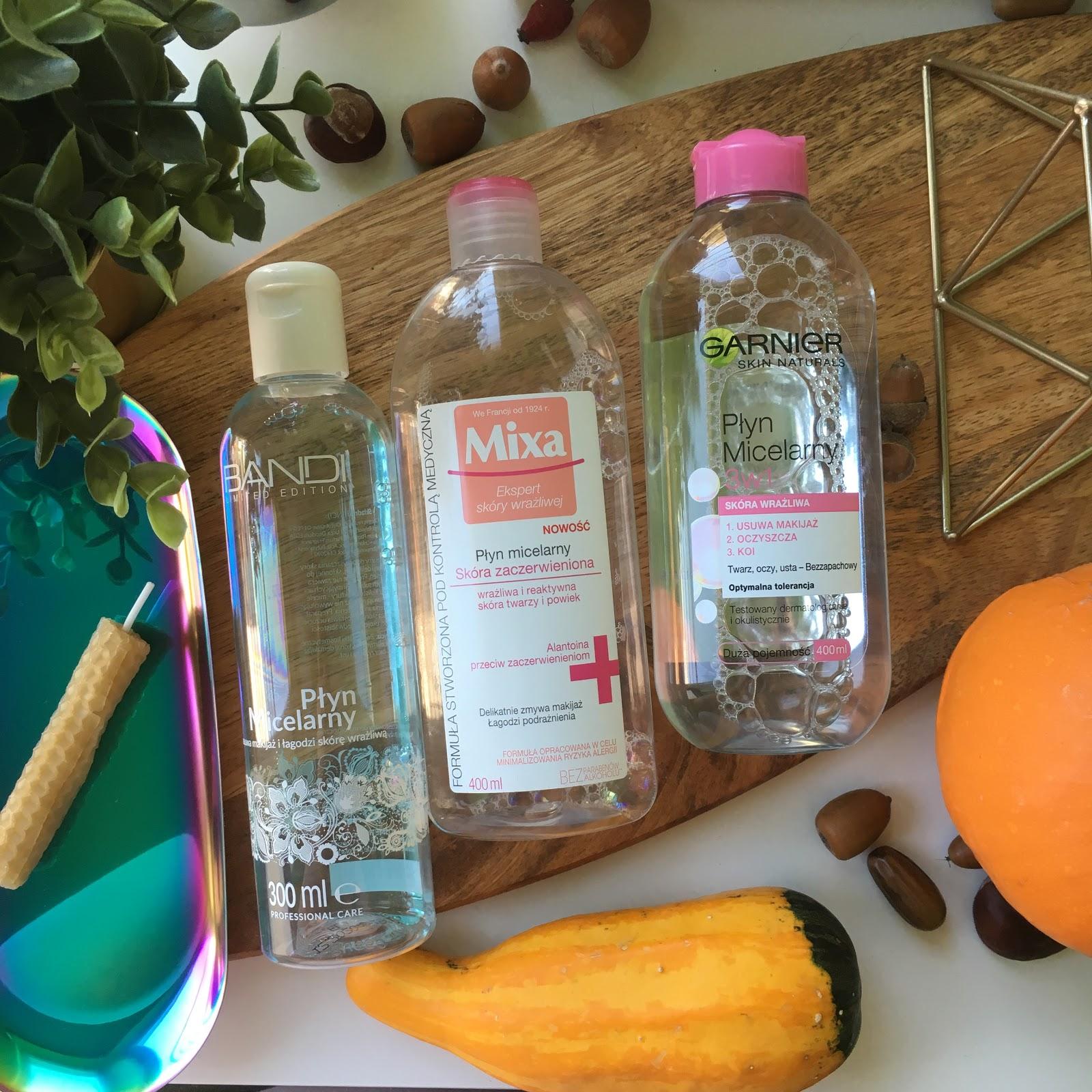 3 produkty to seria mini recenzji, dziś płyn micelarny z Bandi, Garnier oraz Mixa.