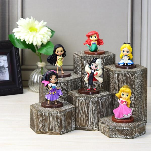 Showcase your collectibles with the Wooden 6 Pcs Hexagon Risers Display | NileCorp.com