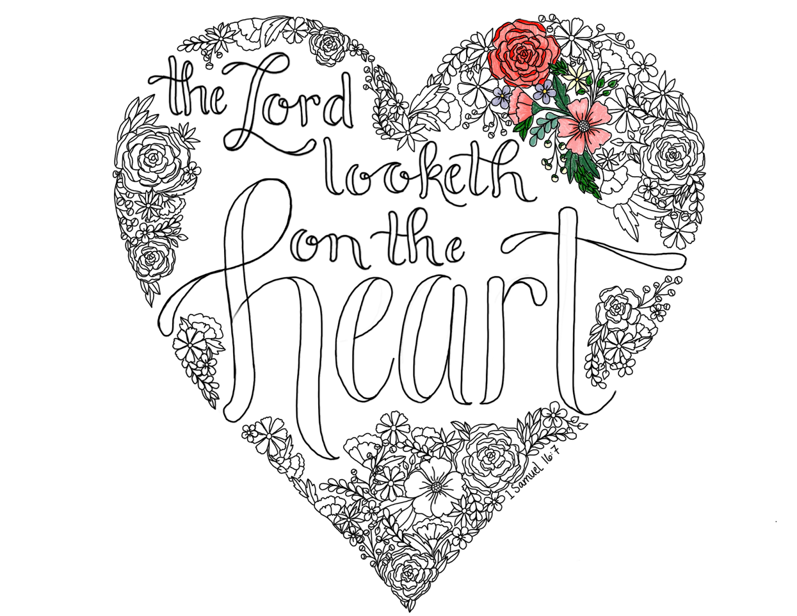 Just What I Squeeze In The Lord Looketh On The Heart Coloring Page 11