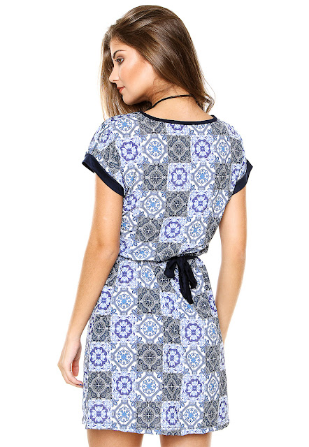 Moda Vestido Top Rock Curto Azulejo Azul