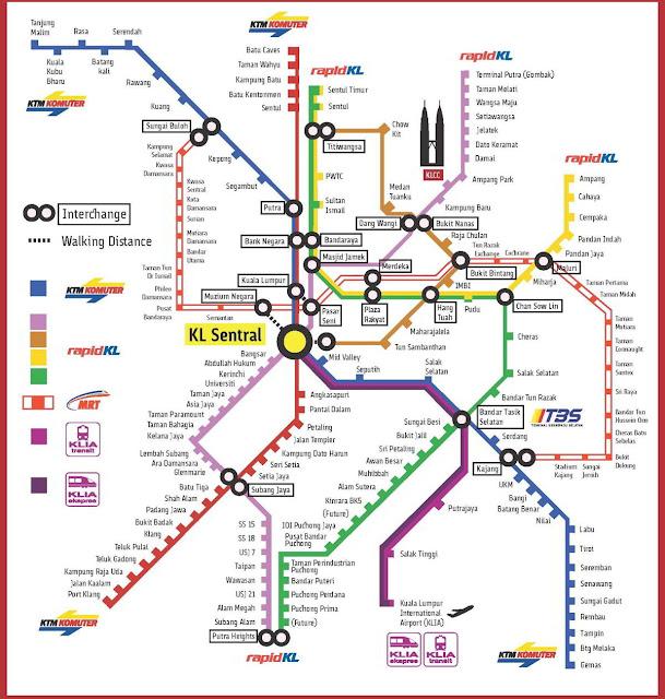 خريطة القطارات فى كوالالمبور Kuala Lumpur Railway Trains Map