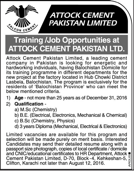 Physics , Chemistry and DAE Jobs in Attock Cement Pakistan Limited Jobs 2016