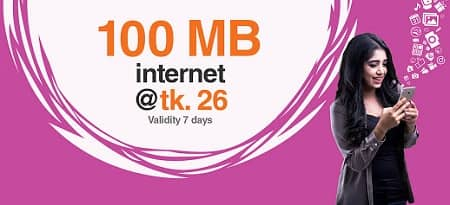Banglalink 100 MB Internet Data Package Only 26 Taka for 7 Days