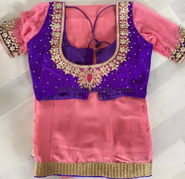 Purple Peach Kundan Blouse