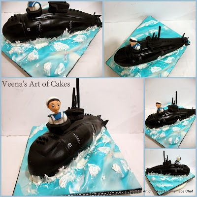 A cake decorated to look like a submarine.