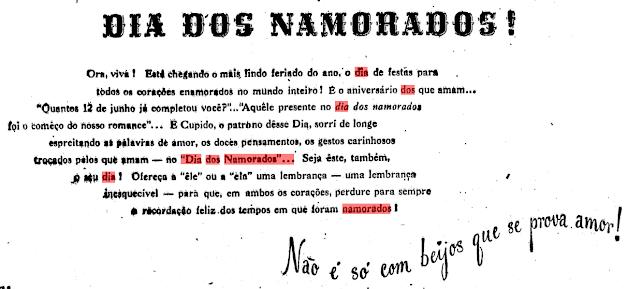 Anúncio Publicitário A Exposição Clipper -  Primeiro dia dos Namorados no Brasil em 1949
