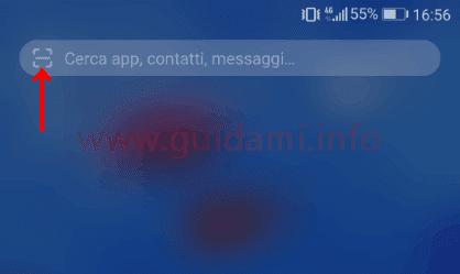 Pulsante lettore codici QR nel campo di ricerca interna Huawei