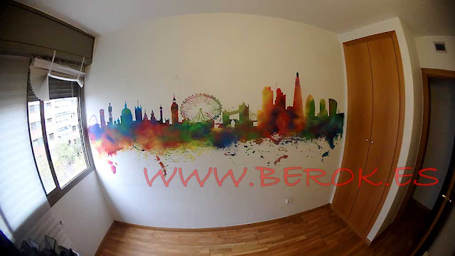 graffiti skyline Londres colorines