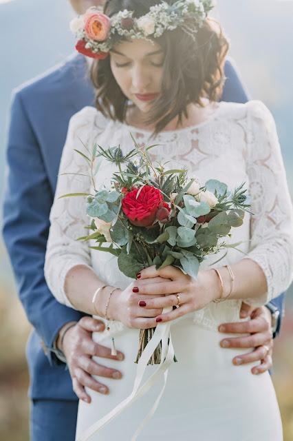 Couronne de fleurs, bouquet de mariée, fleuriste mariage Lyon