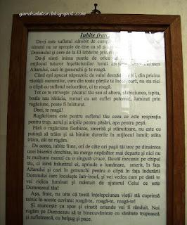 """""""…Deci, te roagă! Rugăciunea este pentru sufletul tău ceea ce este respiraţia pentru trup, aerul şi aripile pentru păsări, apa pentru peşti…""""      Memento (extras): Mănăstirea Bistriţa – noiembrie 2012"""