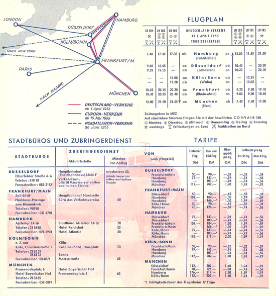 Lufthansa timetable 1955 - back