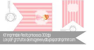 banderines de princesas para imprimir y editar gratis