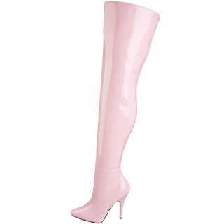 baby pink patent thigh high boots