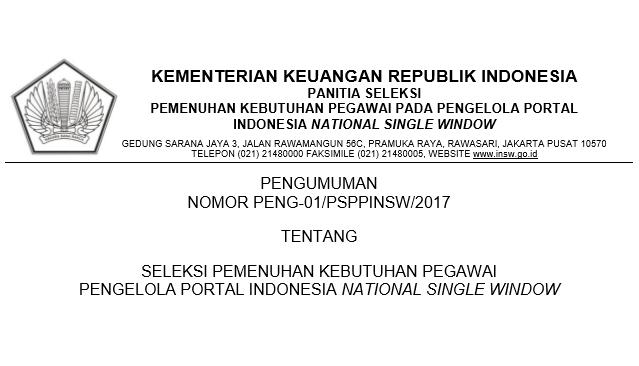 Penerimaan PP INSW Kementerian Keuangan
