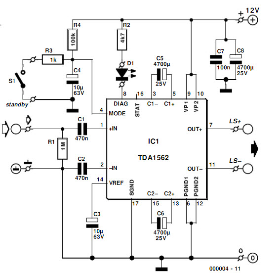 50w audio amplifier using ic tda1562 circuit project