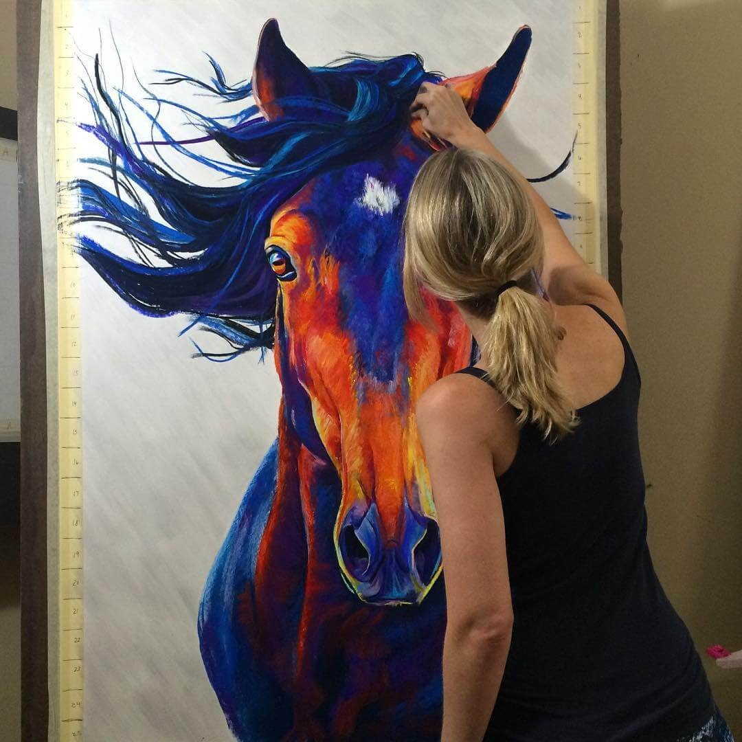 01-Horse-Large-Scale-Soft-Pastel-Drawings-Of-Wild-Ainimals-www-designstack-co