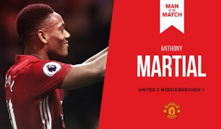Anthony Martial Man of the Match MU vs Middlesbrough 2-1
