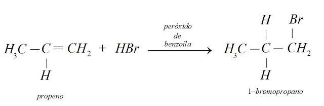 reaçao propeno brometo hidrogênio