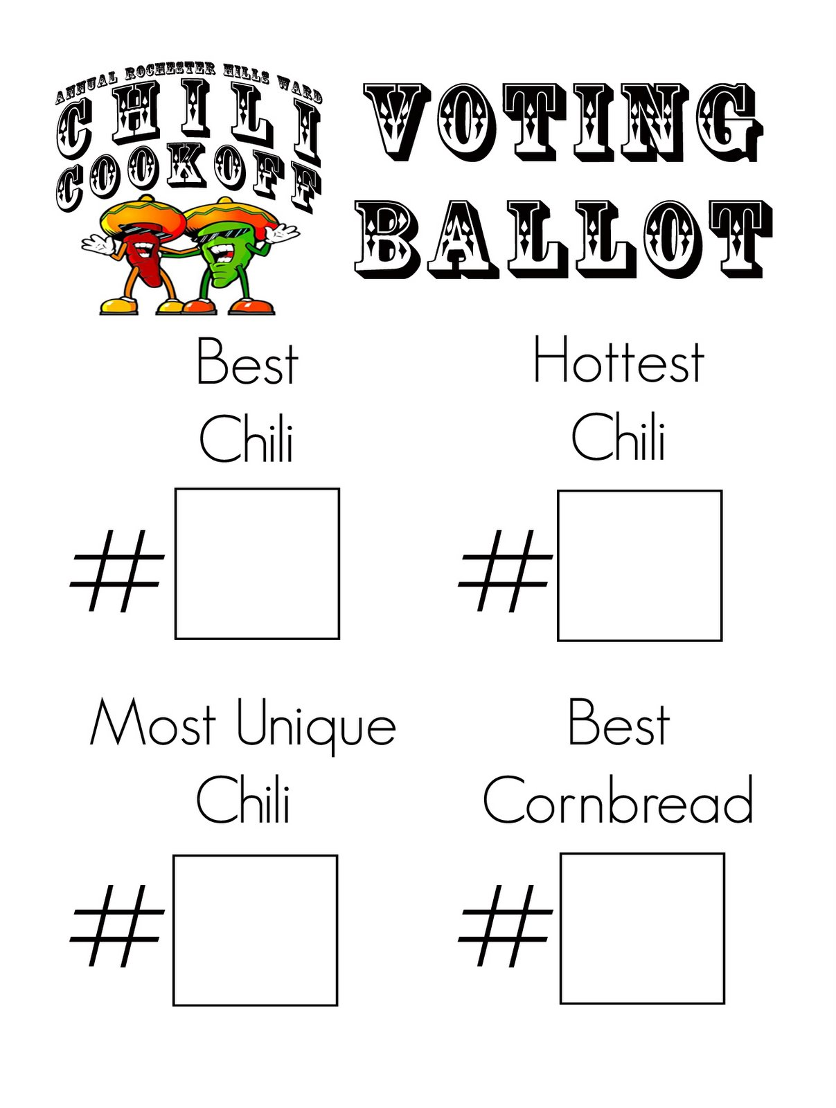 Chili cook off voting ballot template just b cause for Election ballots template