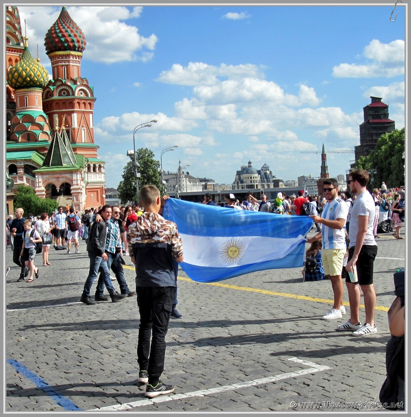 2018 FIFA World Cup. Football fans on Red Square in Moscow.