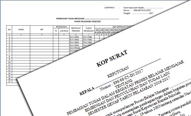 Contoh SK Pembagian Tugas Guru dalam PBM Tahun Ajaran 2016-2017