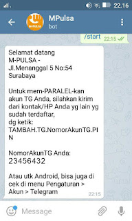 Transaksi Pulsa Dengan Aplikasi Telegram