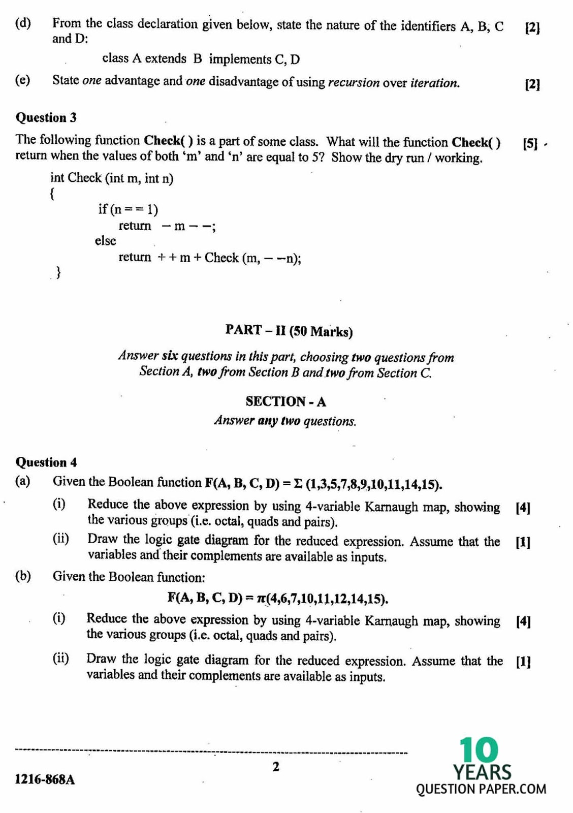 Isc 2016 computer science theory class xii board question paper isc 2016 class 12th computer science theory question paper ccuart Gallery