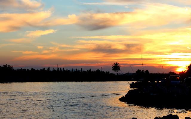 Puesta de sol en el río Júcar-Cullera