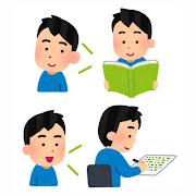 いろいろな語学の勉強をする人のイラスト(男性)