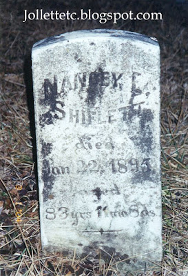 Tombstone of Nancy Elizabeth Frazier Shiflett https://jollettetc.blogspot.com