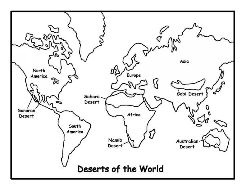 Desenho do Mapa Mundi para Colorir