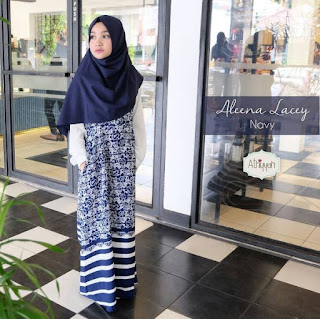 Gamis Athiyyah Aleena Lacey Navy
