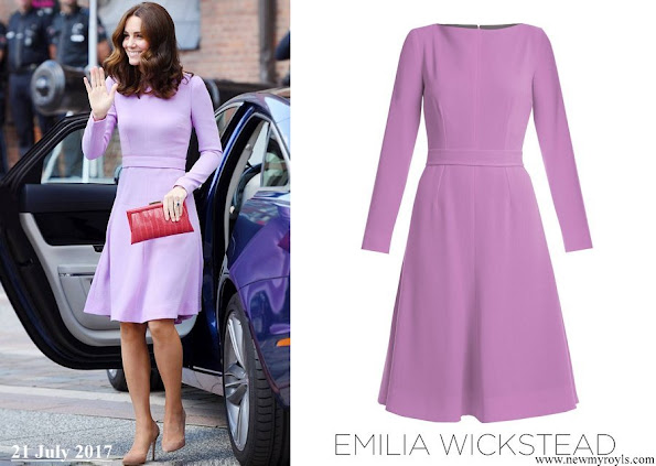 Kate Middleton wore Emilia Wickstead Kate A-line wool-crepe dress in Lavender