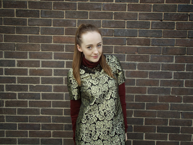 warehouse dress, christmas dress, party dress, jacquard dress, black and gold glittery dress, embellished collar, 90s hair, high ponytail, high pony, fashion blogger pose, burgundy jumper, polar neck, polo neck, primark jumper