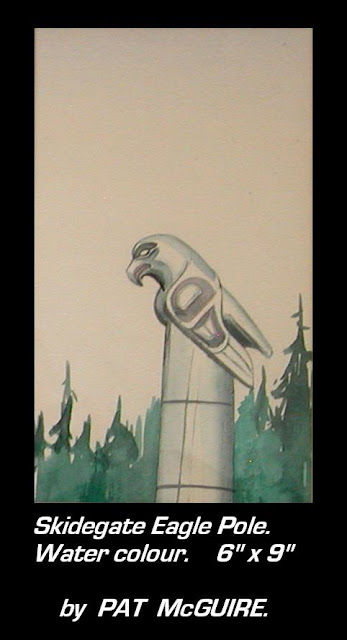 Pat McGuire painting Skitigate eagle pole