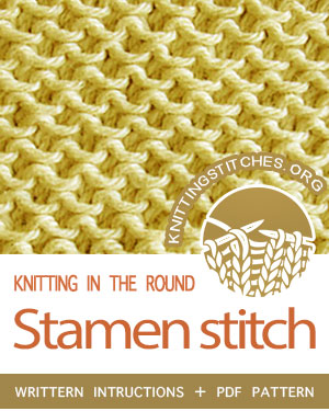 Circular Knitting - Written instructions for Stamen slip-stitch in the round. #knit #CircularKnitting #knittingintheround