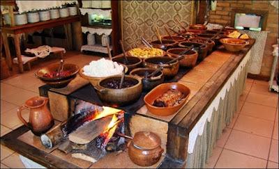 comida no fogao a lenha