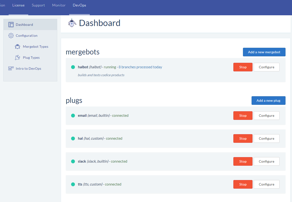 DevOps dashboard