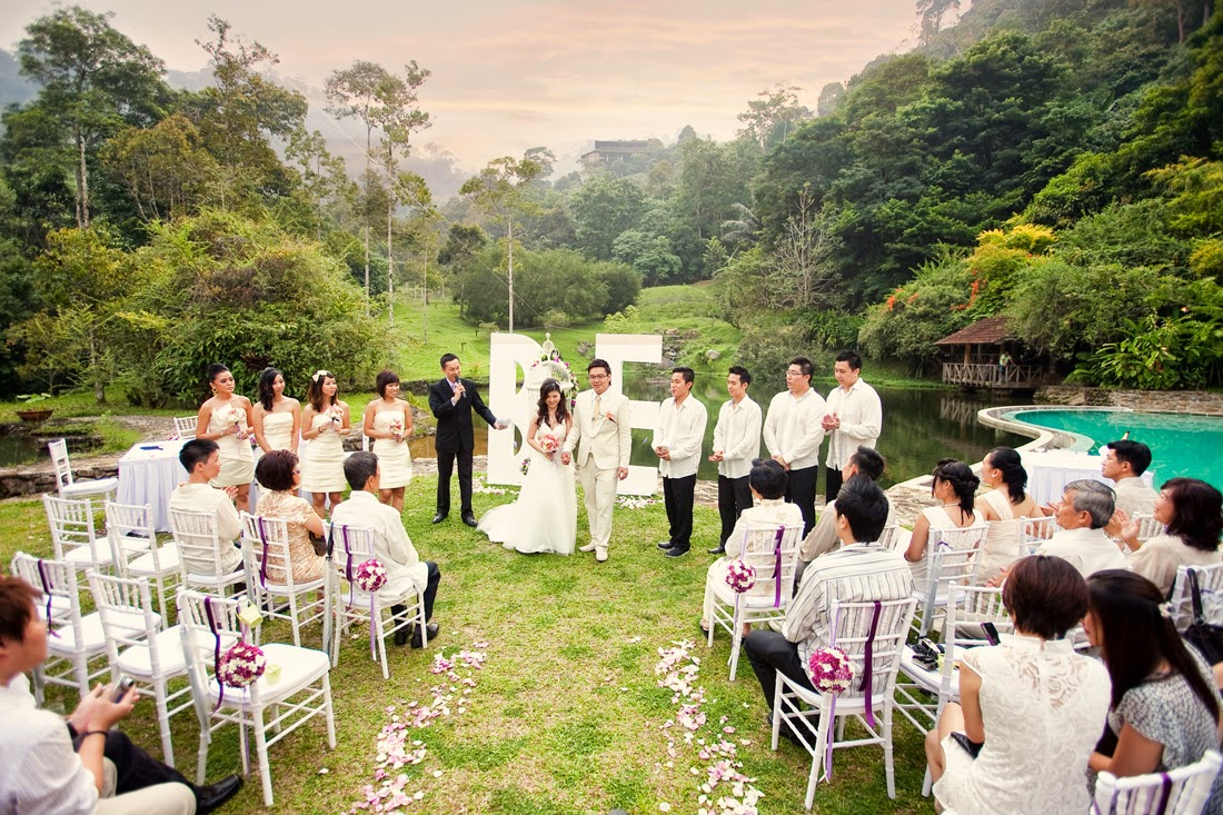garden wedding blessing couple