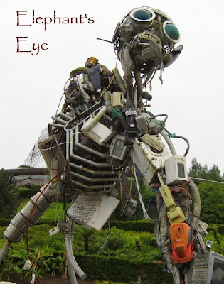 Garbage man sculpture at the Eden Project